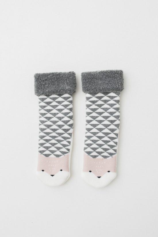 Calcetin zorro rosa y gris Dear Mini
